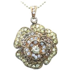 Sterling Silver Gold Overlay Cubic Zirconia Rose Necklace