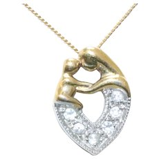 Sterling Silver Gold Overlay Cubic Zirconia Mother And Baby Heart Necklace