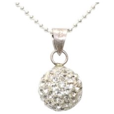 Sterling Silver Cubic Zirconia Ball Necklace