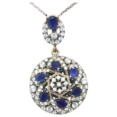 Sterling Silver Gold Overlay Cubic Zirconia Sapphire Necklace