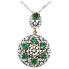 Sterling Silver Gold Overlay Cubic Zirconia Emerald Necklace