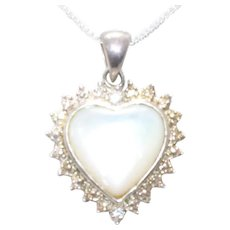 Vintage Sterling Silver Cubic Zirconia Mother of Pearl Necklace