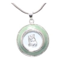 Sterling Silver Jade Spinning Cow Necklace