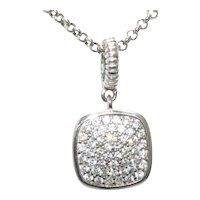 Sterling Silver Cubic Zirconia Square Necklace