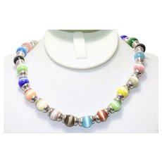 Sterling Silver Multi Colored Fiber Optic Beaded Necklace