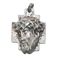 Vintage Sterling Silver Suffering Jesus Cross Pendant