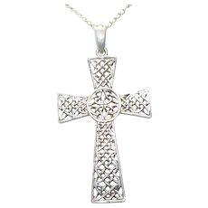 Vintage Sterling Silver Celtic Cross Necklace