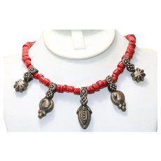 Vintage Red Coral Beaded Costume Charms Necklace