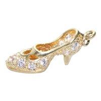 14KT Yellow Gold Cubic Zirconia Heel Shoe Pendant