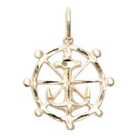 14KT Yellow Gold Anchor And Helm Pendant