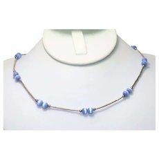 Vintage Sterling Silver Light Blue Fiber Optic Beaded Necklace