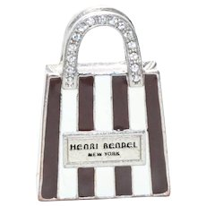Vintage Costume Henri Bendel New York Brown White Bag Charm