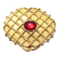 Vintage Costume Gold Tone Oval Perfume Box