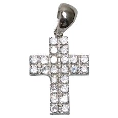 Sterling Silver Prong Set Round Cut Cubic Zirconia Straight Edge Cross Pendant