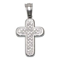 Sterling Silver Cubic Zirconia Rounded Cross Pendant