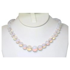 Sterling Silver Tapered Moonstone Beaded Necklace