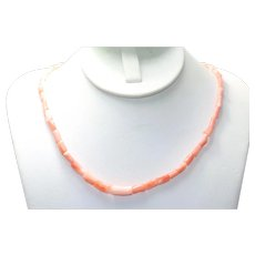 Vintage Tube Coral Beaded Necklace