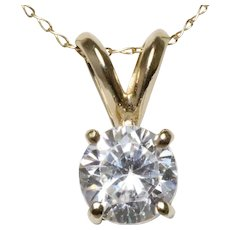 14KT Yellow Gold Prong Set Cubic Zirconia Necklace