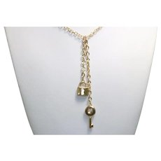 14KT Yellow Gold Heart Lock Key Necklace