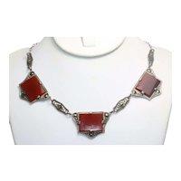 Vintage Sterling Silver Carnelian Marcasite Necklace