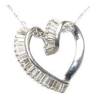 14KT White Gold 2.82 CT Baguette Cut Diamond Heart Necklace