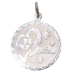Vintage Sterling Silver Be My Valentine Diamond Cut Florentine Medallion Charm