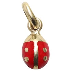 Vintage 14KT Yellow Gold Red Enamel Ladybug Pendant