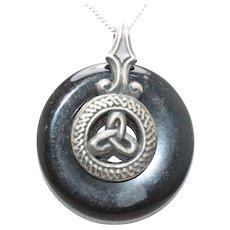 Vintage Sterling Silver Black Onyx Celtic Necklace