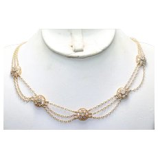 Vintage Sterling Silver Gold Tone Cubic Zirconia Triple Cable Chain Necklace