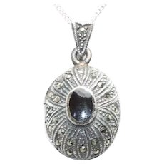 Vintage Sterling Silver Black Onyx Marcasite Locket Necklace