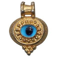 Vintage Sterling Silver Overlay Gold Evil Eye Pendant