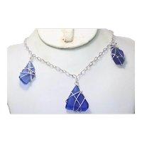 Vintage Sterling Silver Blue Sea Glass Necklace