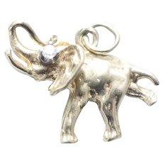 Vintage 14KT Yellow Gold Single Diamond Elephant Charm