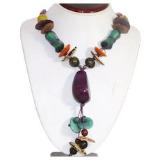 Multi Colored Wood Beaded Necklace