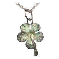 Vintage Sterling Silver Hibiscus Flower Necklace