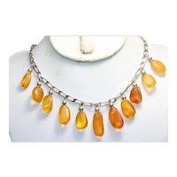 Vintage Sterling Silver Dangling Amber Necklace