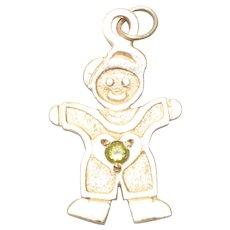 14KT Yellow Gold .03 CT Peridot Young Boy Charm