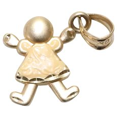 Vintage 14KT Yellow Gold Yellow Enamel Diamond Cut Young Girl Charm