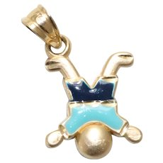 Vintage 14KT Yellow Gold Blue Enamel Young Boy Charm