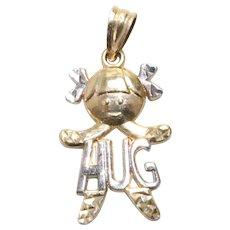 Vintage 14KT Two Tone Gold Young Girl HUG Charm