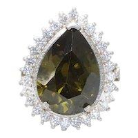 Handmade Sterling Silver Peridot Cubic Zirconia Teardrop Ring