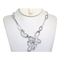 14KT White Gold Cubic Zirconia Butterfly Necklace
