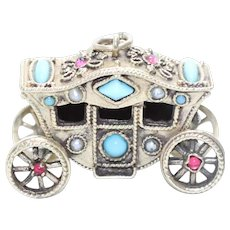 Vintage 14KT Yellow Gold Turquoise Garnet Cultured Pearl Horse Drawn Carriage Charm