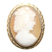 Vintage 12KT Gold Filled Oval Cameo Pin Pendant