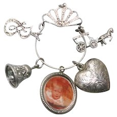 Vintage Sterling Silver Charms and Charm Holder