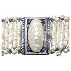 Antique French Costume Synthetic Pearl Bracelet