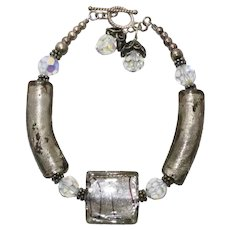 Vintage Murano Glass Costume Lock Bracelet