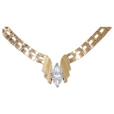 Vintage 14 KT Yellow Gold Cubic Zirconia Necklace
