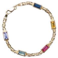 Vintage 14KT Yellow Gold Gemstone Bracelet