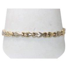 Vintage 14 KT Yellow Gold Heart Link Bracelet